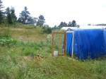 We chose to make a moveable structure that enclosed the chickens at night for safety, but opened during the day so the chickens  have plenty of room to roam within an electric polynet fence
